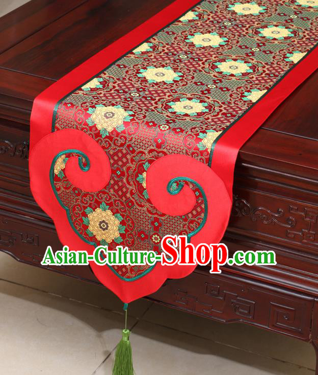 Chinese Classical Lotus Pattern Red Satin Table Flag Traditional Brocade Household Ornament Table Cover