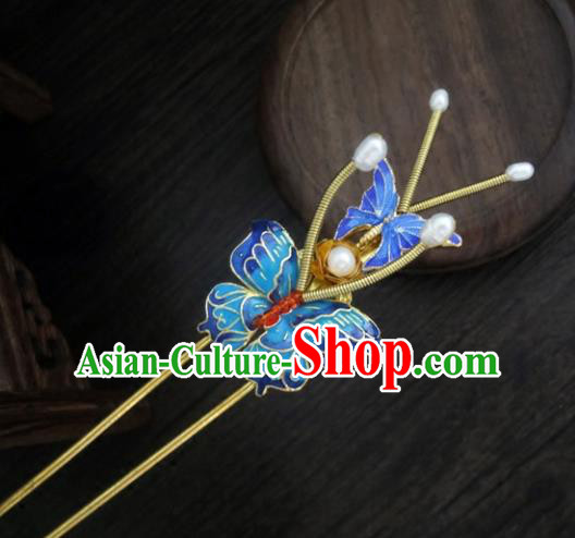 Chinese Ancient Palace Hair Accessories Traditional Classical Blueing Hair Clip Hairpins for Women