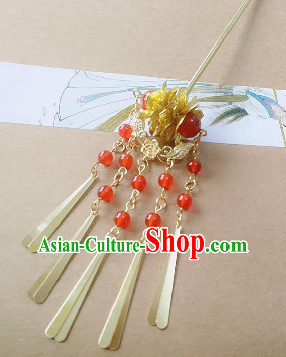 Chinese Ancient Hair Accessories Red Beads Tassel Hairpins Traditional Hanfu Palace Hair Clip for Women
