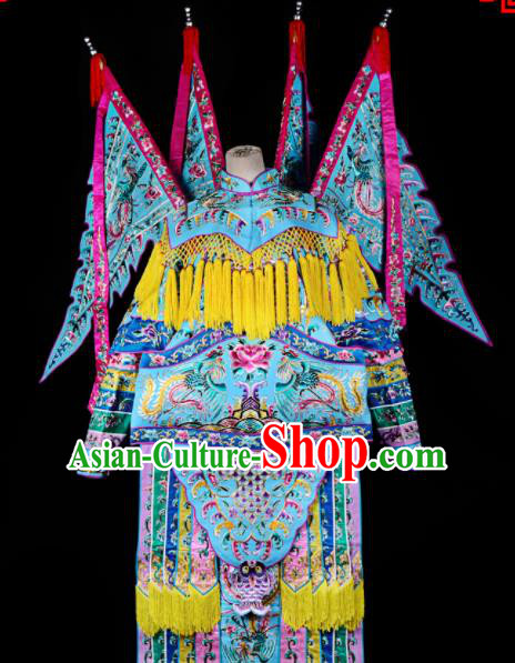 Professional Chinese Traditional Beijing Opera Female General Blue Costume for Adults