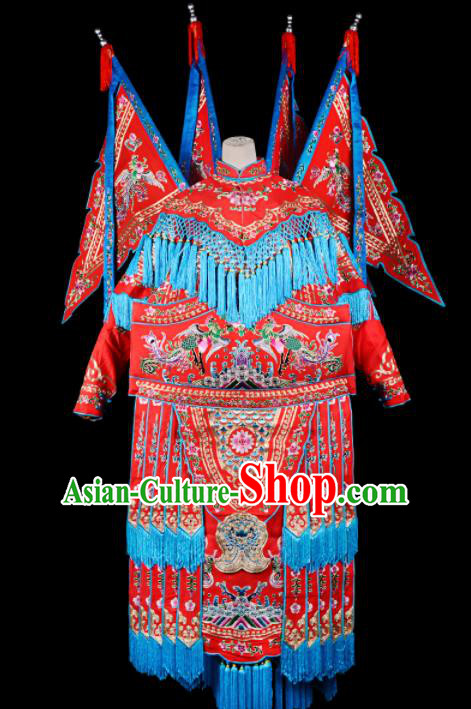 Professional Chinese Traditional Beijing Opera Female General Costume Peking Opera Red Clothing for Adults