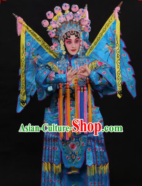 Professional Chinese Traditional Beijing Opera Costume Female General Embroidered Blue Clothing for Adults