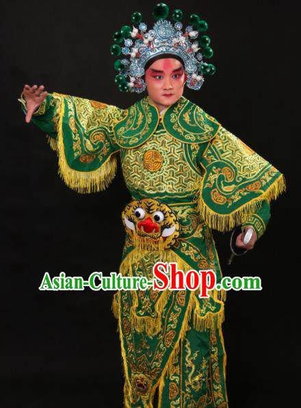 Professional Chinese Beijing Opera Takefu Costume Traditional Peking Opera Warrior Green Clothing for Adults