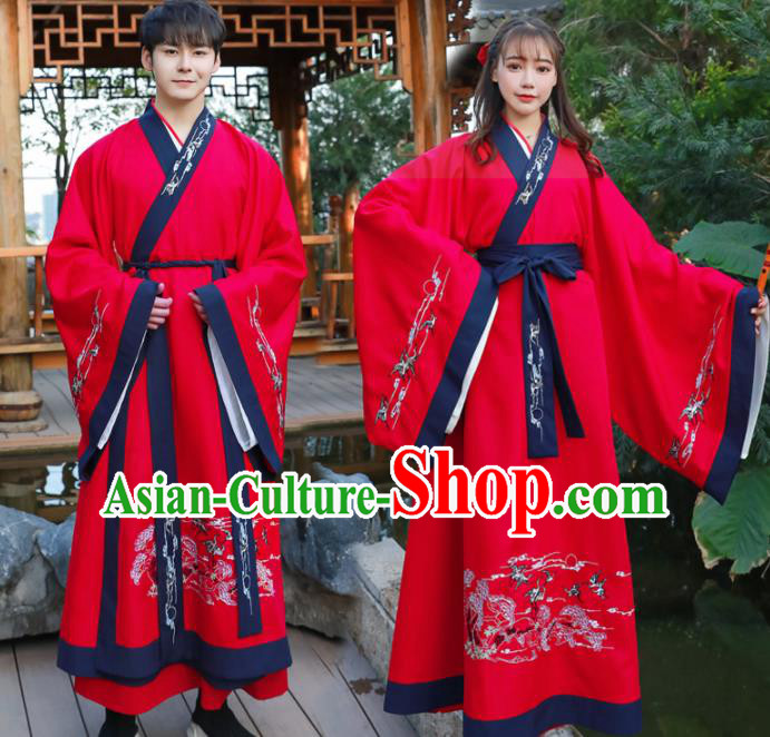 Chinese Ancient Swordsman Red Hanfu Dress Traditional Han Dynasty Knight Replica Costume for Women for Men