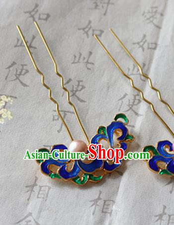 Chinese Ancient Handmade Blueing Hair Clip Hairpins Traditional Classical Hair Accessories for Women