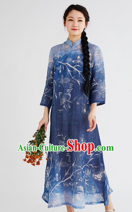 Chinese National Costume Traditional Cheongsam Classical Printing Navy Qipao Dress for Women