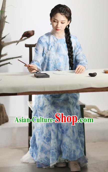 Chinese National Costume Traditional Cheongsam Classical Printing Light Blue Qipao Dress for Women