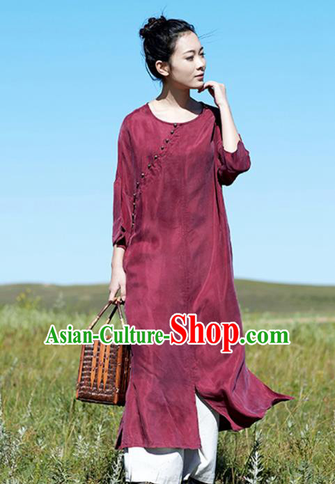 Chinese National Costume Traditional Cheongsam Classical Wine Red Qipao Dress for Women
