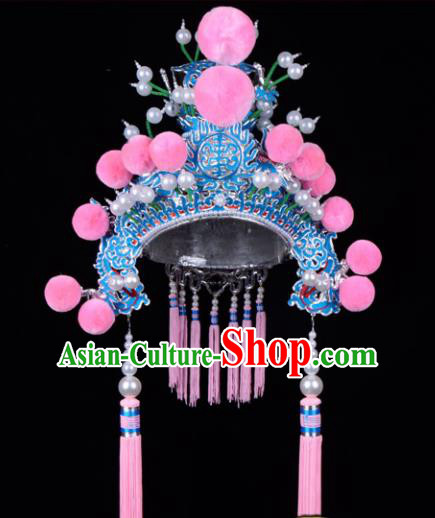 Chinese Beijing Opera Martial Arts Female Hair Accessories Ancient General Helmet for Women