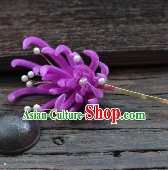 Top Grade Chinese Ancient Palace Queen Purple Velvet Chrysanthemum Hairpins Traditional Hair Accessories Headdress for Women