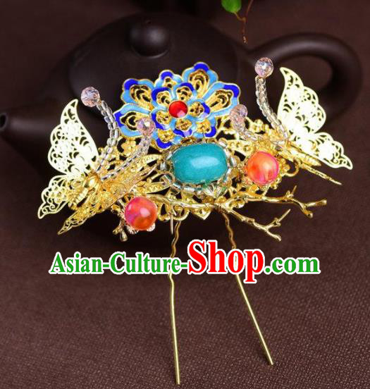 Handmade Chinese Ancient Princess Blueing Lotus Butterfly Hair Clips Hairpins Traditional Hair Accessories Headdress for Women