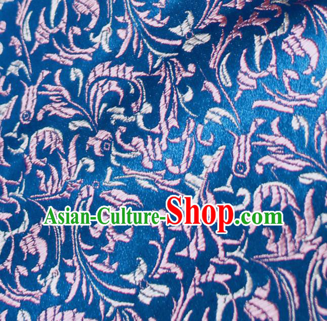 Asian Chinese Royal Feather Flowers Pattern Blue Brocade Fabric Traditional Silk Fabric Tang Suit Material