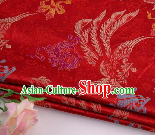 Asian Chinese Traditional Dragon Phoenix Pattern Red Nanjing Brocade Fabric Tang Suit Silk Material