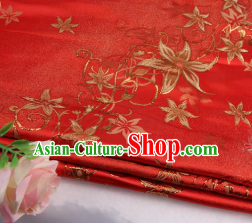 Asian Chinese Traditional Star Flower Pattern Red Nanjing Brocade Fabric Tang Suit Silk Material