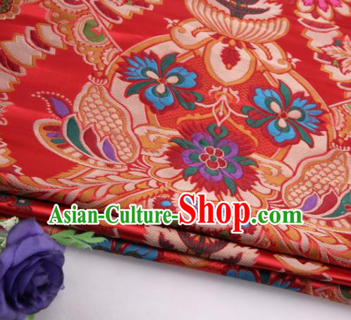 Asian Chinese Traditional Flower Pattern Red Nanjing Brocade Fabric Tang Suit Silk Material