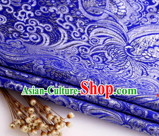 Asian Chinese Traditional Pipa Flowers Pattern Royalblue Nanjing Brocade Fabric Tang Suit Silk Material