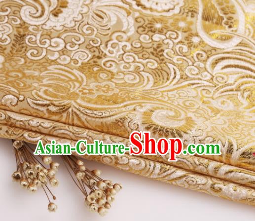 Asian Chinese Traditional Pipa Flowers Pattern Yellow Nanjing Brocade Fabric Tang Suit Silk Material