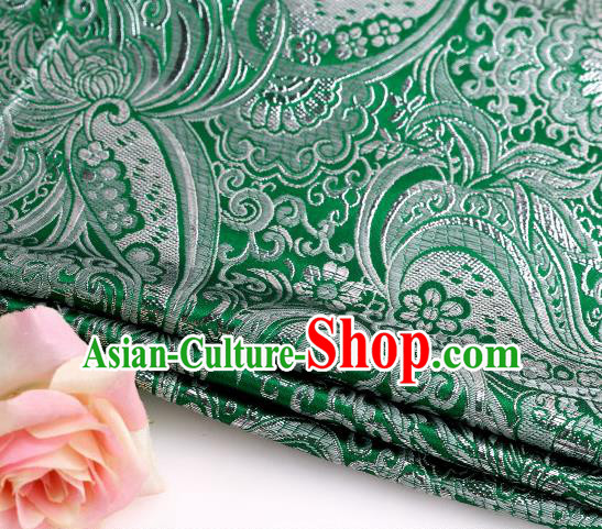 Asian Chinese Traditional Pipa Flowers Pattern Green Nanjing Brocade Fabric Tang Suit Silk Material