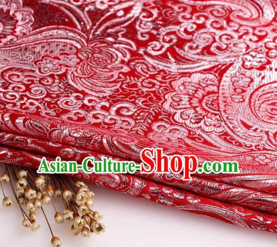 Asian Chinese Traditional Pipa Flowers Pattern Red Nanjing Brocade Fabric Tang Suit Silk Material