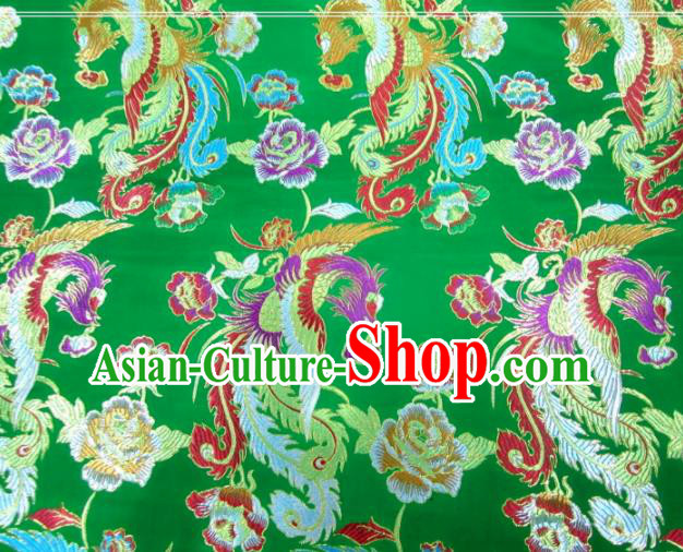 Asian Chinese Traditional Phoenix Peony Pattern Green Nanjing Brocade Fabric Tang Suit Silk Material
