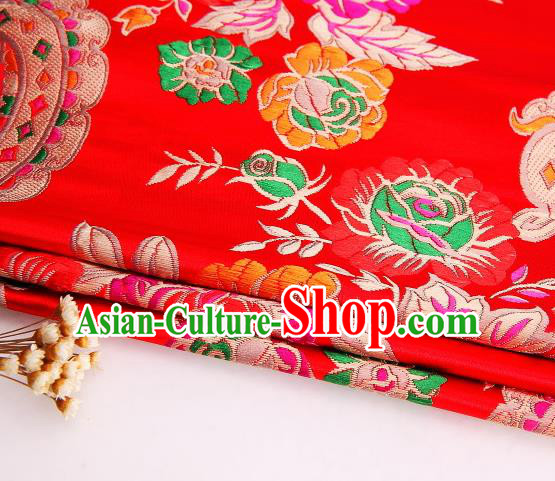 Asian Chinese Traditional Peony Flowers Pattern Red Satin Nanjing Brocade Fabric Tang Suit Silk Material