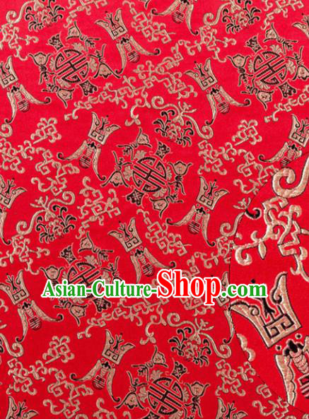 Asian Chinese Traditional Royal Longevity Pattern Red Satin Nanjing Brocade Fabric Tang Suit Silk Material