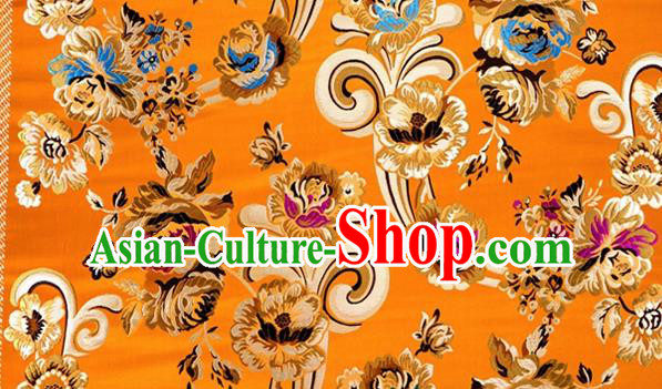 Asian Chinese Traditional Tang Suit Royal Flowers Pattern Golden Nanjing Brocade Fabric Silk Fabric Material