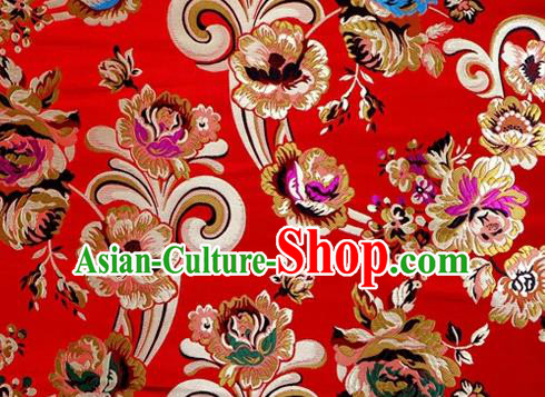 Asian Chinese Traditional Tang Suit Royal Flowers Pattern Red Nanjing Brocade Fabric Silk Fabric Material