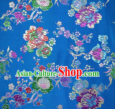 Asian Chinese Traditional Tang Suit Peony Pattern Blue Nanjing Brocade Fabric Silk Fabric Material