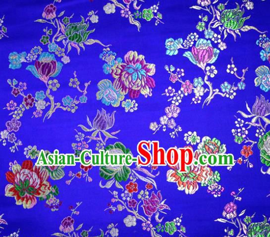 Asian Chinese Traditional Tang Suit Peony Pattern Royalblue Nanjing Brocade Fabric Silk Fabric Material