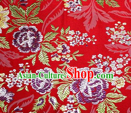 Asian Chinese Traditional Tang Suit Red Nanjing Brocade Fabric Royal Peony Pattern Silk Fabric Material
