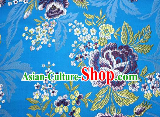 Asian Chinese Traditional Tang Suit Blue Nanjing Brocade Fabric Royal Peony Pattern Silk Fabric Material
