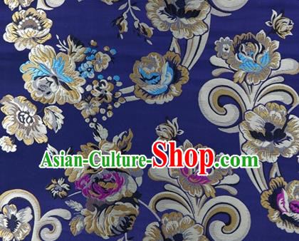 Asian Chinese Traditional Tang Suit Royal Flowers Pattern Navy Nanjing Brocade Fabric Silk Fabric Material