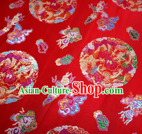 Asian Chinese Traditional Tang Suit Royal Dragons Pattern Red Nanjing Brocade Fabric Silk Fabric Material