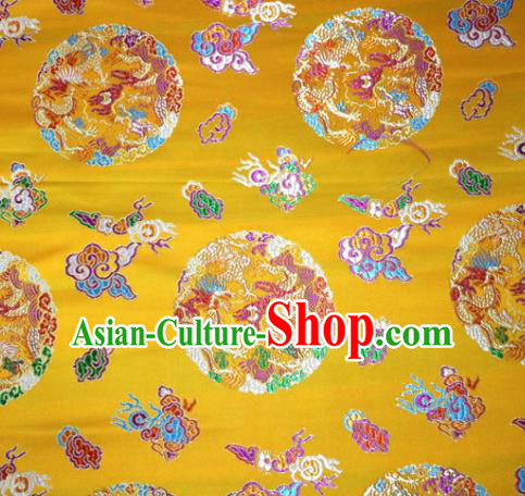 Asian Chinese Traditional Tang Suit Royal Dragons Pattern Yellow Nanjing Brocade Fabric Silk Fabric Material