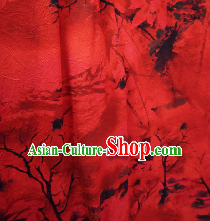 Asian Chinese Traditional Watered Gauze Fabric Branch Pattern Red Satin Tang Suit Silk Material