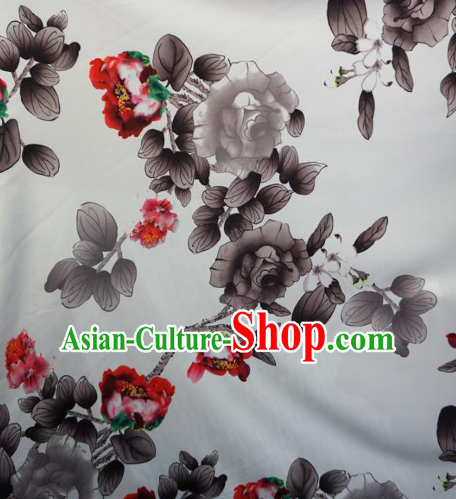 Asian Chinese Ink Painting Peony Design Pattern Brocade Traditional Cheongsam Satin Fabric Tang Suit Silk Material