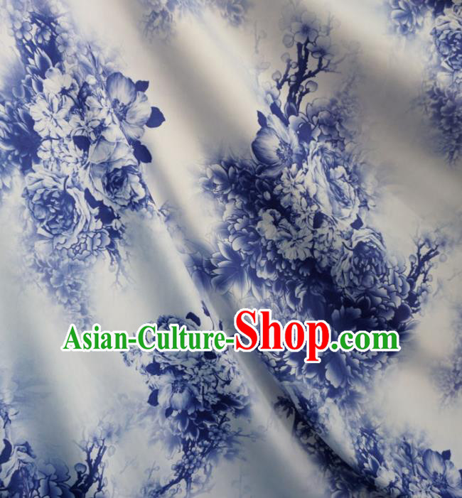 Asian Chinese Printing Peony Design Pattern White Brocade Traditional Cheongsam Satin Fabric Tang Suit Silk Material