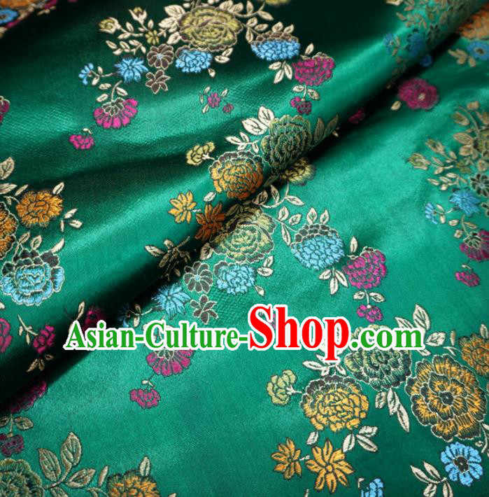 Asian Chinese Classical Peony Design Pattern Green Brocade Traditional Cheongsam Satin Fabric Tang Suit Silk Material