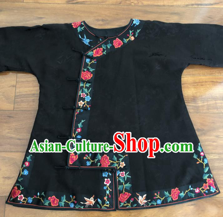 Chinese Traditional Costume National Black Silk Qipao Blouse for Women