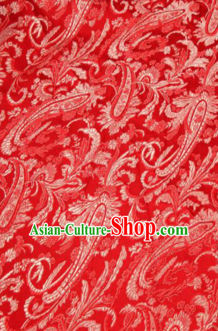Asian Chinese Classical Pipa Flowers Pattern Red Brocade Traditional Tibetan Robe Satin Fabric Silk Material