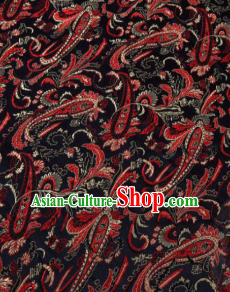 Asian Chinese Classical Pipa Flowers Pattern Black Brocade Traditional Tibetan Robe Satin Fabric Silk Material