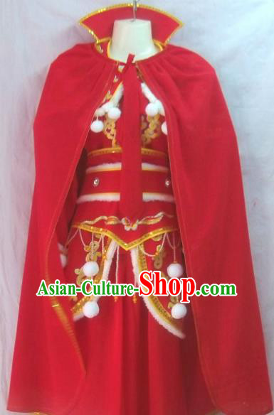 Chinese Traditional Beijing Opera Female Warrior Red Dress Ancient Swordswoman Embroidered Costume for Women