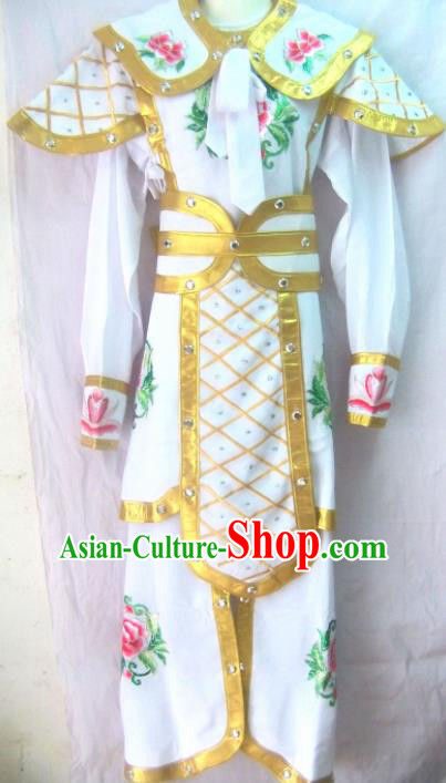 Chinese Traditional Beijing Opera Female Warrior White Clothing Ancient Swordswoman Embroidered Costume for Women