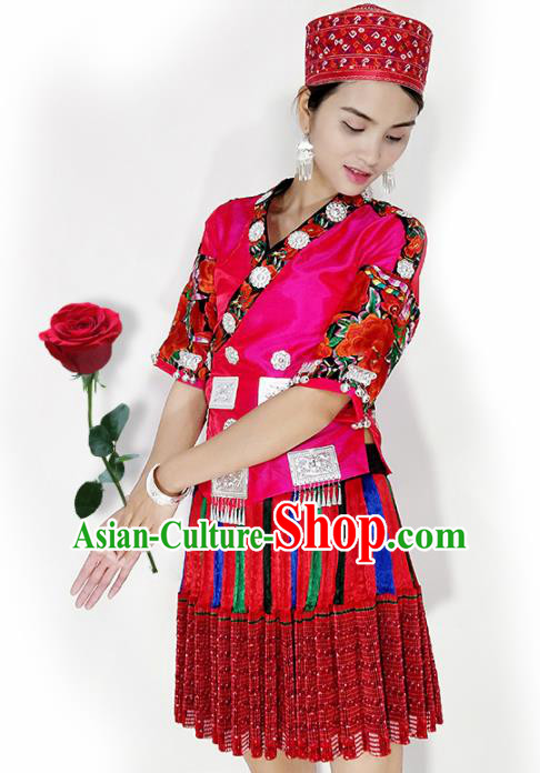 Chinese Traditional Hmong Ethnic Female Costume Miao Nationality Folk Dance Pleated Skirt for Women