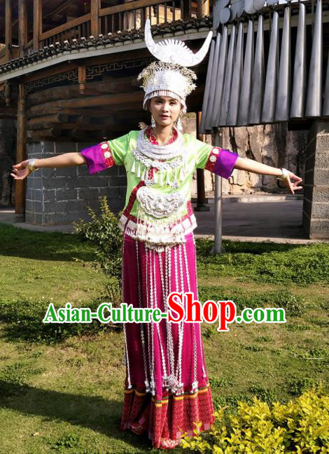 Chinese Traditional Hmong Ethnic Female Costume Miao Nationality Folk Dance Pleated Skirt and Headdress for Women