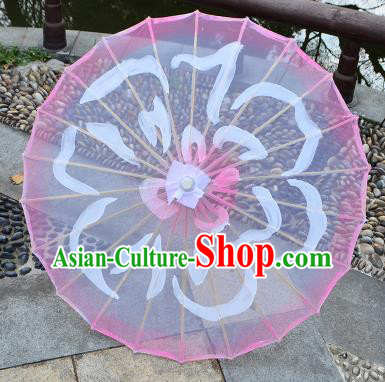Chinese Ancient Drama Prop Paper Umbrella Traditional Handmade Printing Pink Umbrellas
