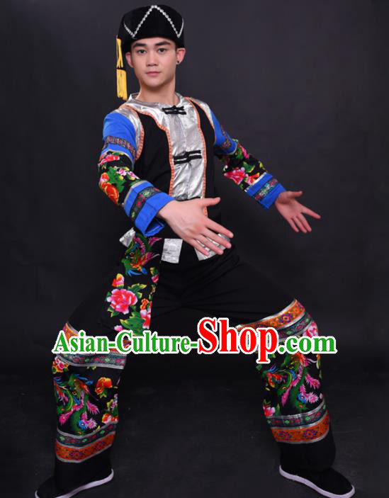 Chinese Traditional Ethnic Printing Black Costume Miao Nationality Festival Folk Dance Clothing for Men