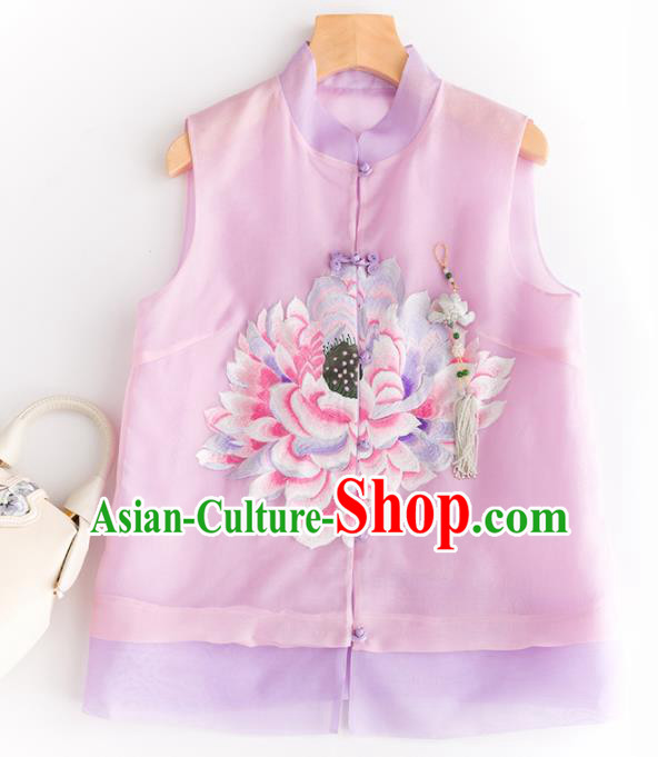 Traditional Chinese National Costume Tang Suit Pink Vest Upper Outer Garment for Women