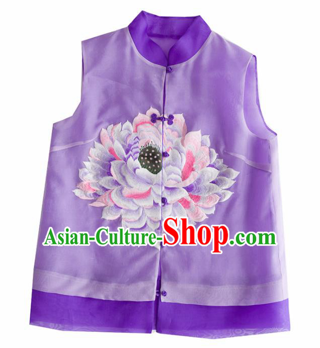 Traditional Chinese National Costume Tang Suit Purple Vest Upper Outer Garment for Women
